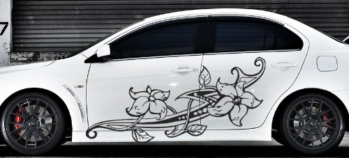 Amazoncom Floral Flower Car Boat Vinyl Graphics Decal Left - Decal graphics for cars