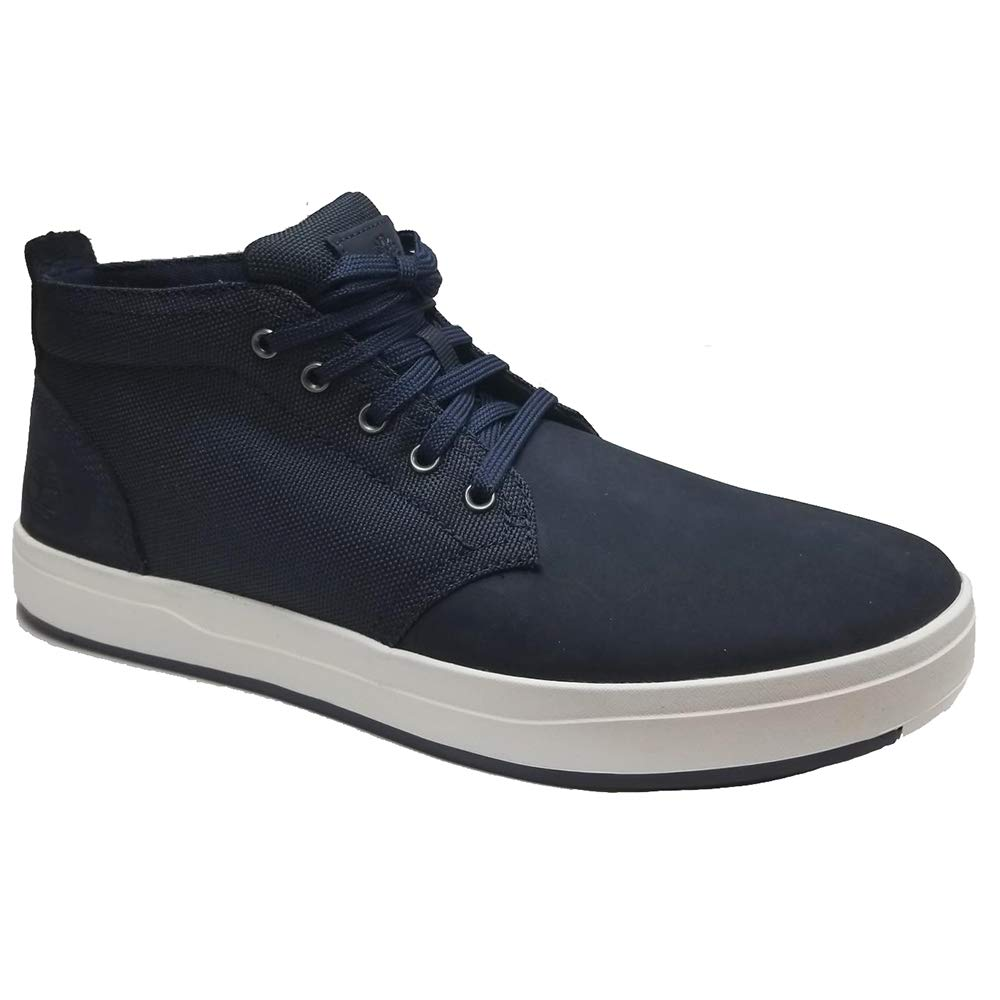 Timberland Davis Square Mens Blue Canvas/Leather High Top Sneakers Shoes 8.5