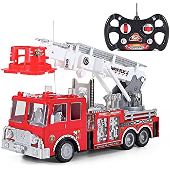 """13"""" R/C Rescue Fire Engine Truck Remote Control Kids Toy with Extending Ladder"""