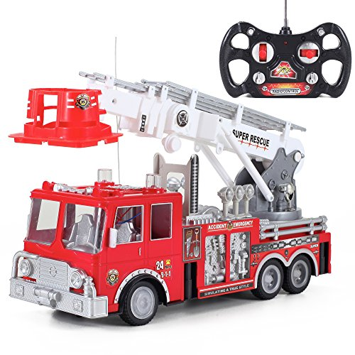 Liberty Imports 13-Inch RC Rescue Fire Engine Truck Remote Control Kids Toy with 17-Inch Extendable Ladder and Lights and Sirens Sounds (Remote Controlled Firetruck)