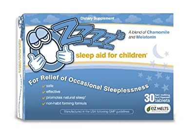 OZzzz's Sleep Aid for Children-30 Fruit Flavored, EZ Melts (fast-melting) Tablets. Pediatrician Recommended. All Natural. Guaranteed Results!