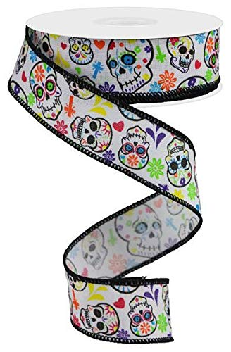 Day of The Dead Sugar Skulls Wired Edge Ribbon, 10 Yards (White, -