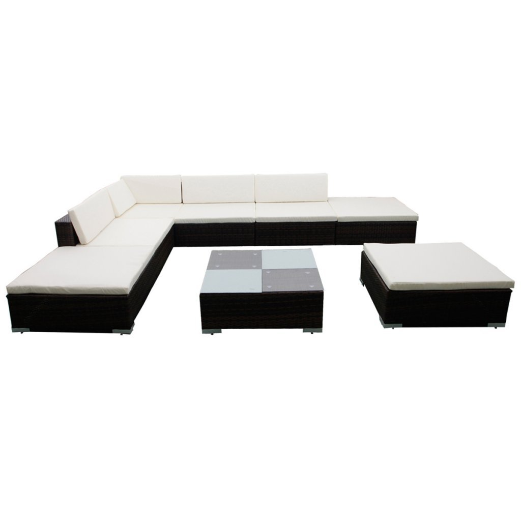Poly Rattan Gartenmöbel Set Lounge Braun 20-teilig