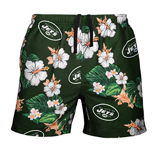 Nfl New York Jets Short - NFL New York Jets Mens Team Logo Floral Hawaiin Swim Suit Trunksteam Logo Floral Hawaiin Swim Suit Trunks, Team Color, Large (31