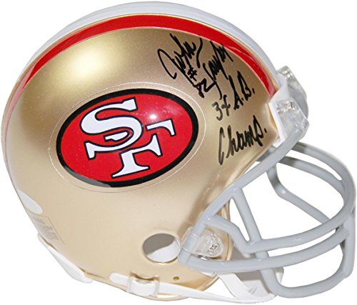 NFL San Francisco 49ers John Taylor Signed Mini Helmet with 3x SB Champs Inscribed by Steiner Sports