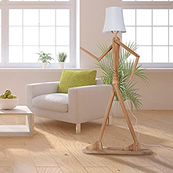 Hroome modern contemporary decorative wooden floor lamp light with hroome modern contemporary decorative wooden floor lamp light with fold white fabric shade adjustable height standing mozeypictures Choice Image