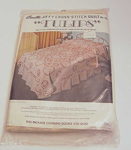 Bucilla Jiffy Cross-Stitch Tulips Quilt Double Bed Size No.