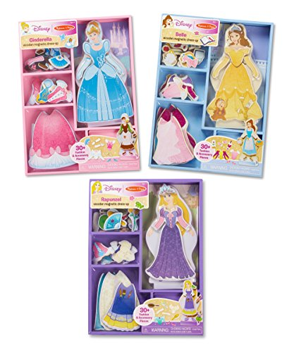 (Melissa & Doug Disney Cinderella, Belle, and Rapunzel Magnetic Dress-Up Wooden Dolls Pretend Play Set)