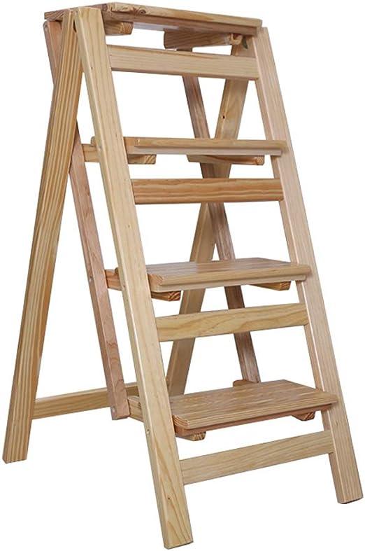 LAXF-stool Taburete de Aprendizaje | Taburete Escalera Plegable de Madera de Pino | escaleras de 4 escalones | Escalera Ligera Multiusos | Escalera para el hogar Biblioteca Loft: Amazon.es: Juguetes y juegos