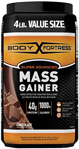 Body Fortress Super Advanced Whey Protein Powder Mass Gainer, Gluten Free, Chocolate, 4 lbs