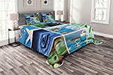 Lunarable Spa Bedspread Set Queen Size, Ocean Themed Collage with Starfish Stone Botanic Plants Aqua and Candles Image, Decorative Quilted 3 Piece Coverlet Set with 2 Pillow Shams, Blue and Green