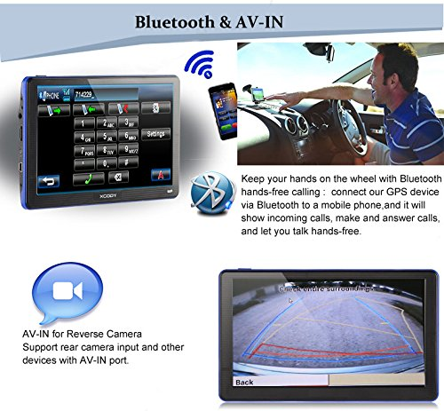 Xgody 886 Bluetooth with Sunshade 7'' Capacitive Touchscreen Bluetooth Car Truck GPS Navigation 256MB RAM 8GB ROM SAT NAV System Navigator with Lifetime Maps