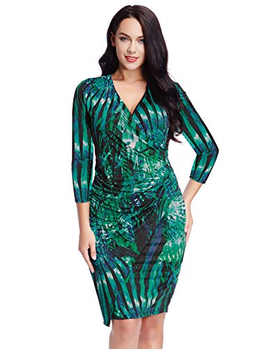 LookbookStore-Womens-Plus-Size-Green-Leaf-Printed-Midi-Faux-Wrap-Dress-Cocktail