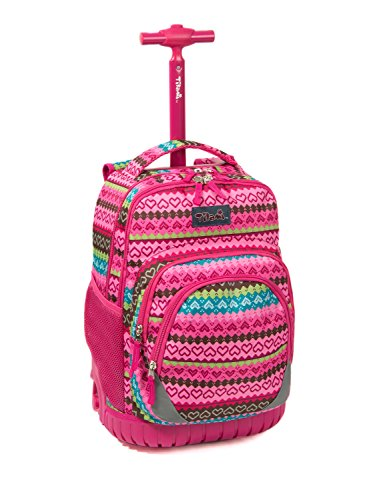 Tilami New Antifouling Design 18 Inch Oversized load multi-compartment Wheeled Rolling Backpack Luggage for Kids, Pink Heart (Backpack Rolling Heavy Duty)