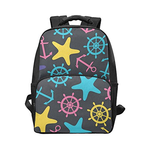 InterestPrint Ocean Nautical Anchor Starfish Custom Casual Backpack School Bag Travel Daypack Gift