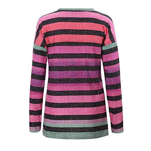 a Pizzo Porpora a con Scollo in Lunga Shirt T Manica a Block per Color Lunghe Vendita Calda V Maniche CICIYONER Donna PxnzTP