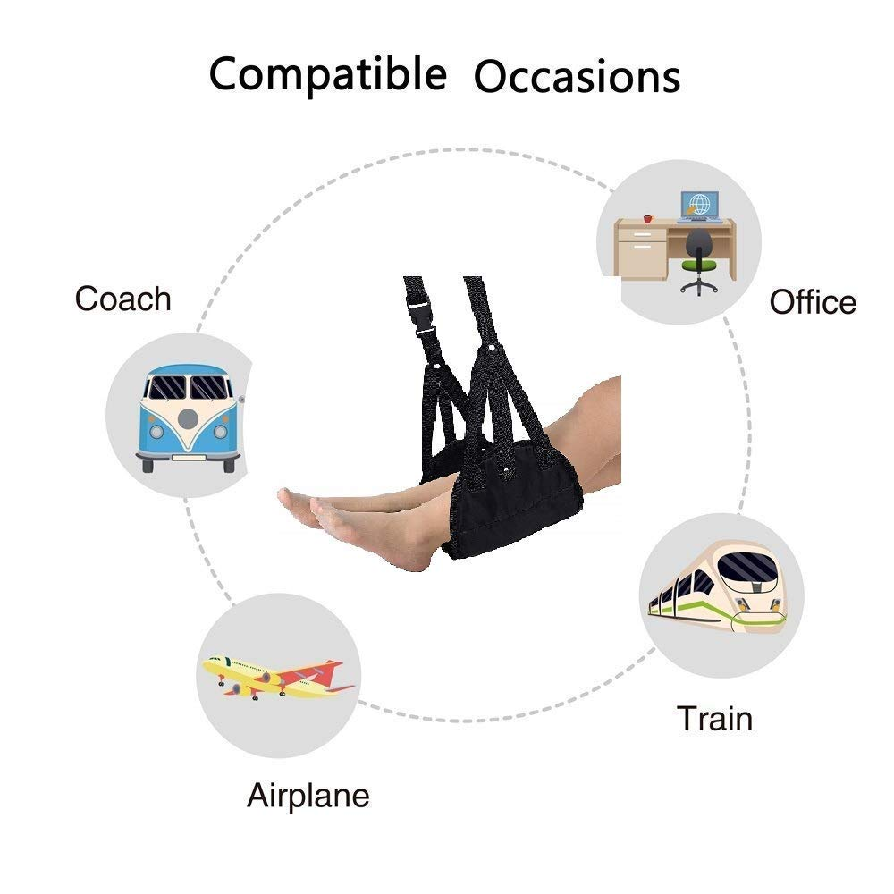Airplane footrest, Portable Airplane Travel Foot Rest Hammock for Flight Bus Train Office Home Airplane Travel Accessories Legs Hammock with Adjustable Height,Black,Vefanny by Verfanny (Image #4)