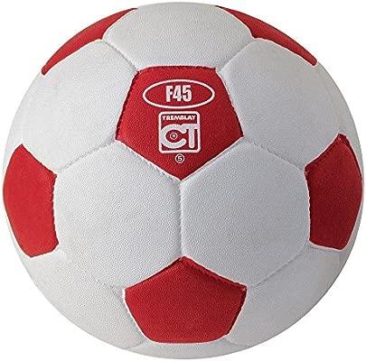Balón fútbol goma celular talla 5 de color blanco/rojo: Amazon.es ...