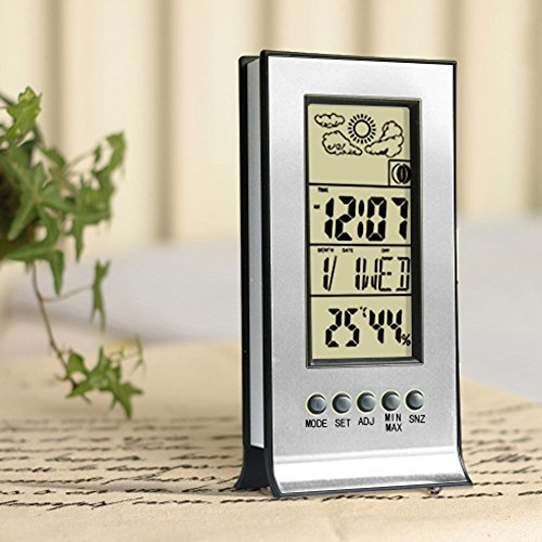 Whitelotous Hygrometer Thermometer, Indoor Digital Weather Station, Multifunctional Temperature and Humidity Monitor LCD Screen Display