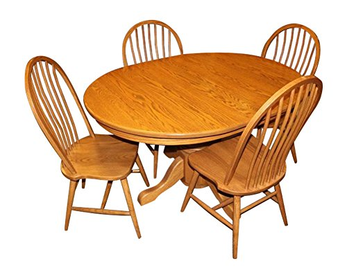 Weaver Craft Amish Made Solid Oak Dining Set 42x54 Extension Table and Four Chairs