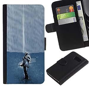 YiPhone /// Tirón de la caja Cartera de cuero con ranuras para tarjetas - Fumar Juego Spy Tf2 Tf - Samsung Galaxy S6