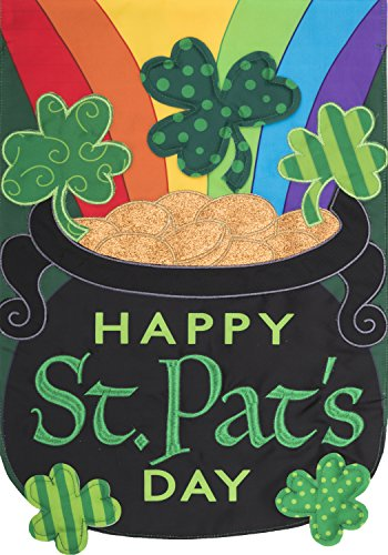 Happy St. Pats Day - Garden Size, Emboidered Applique Style, Double Sided Decorative Flag - Approx. 12 Inch X 18 Inch Copyright, Licensed and Trademarked by Custom Decor - Custom Flags Outdoor