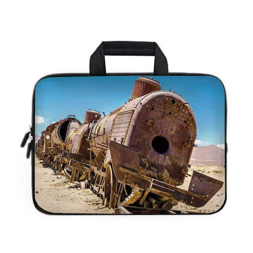 Carrying Bag Sleeve,Rusty Old Abandoned Steam Train Locomotive Cemetery Railroad Wreck Picture Print/Apple MacBook Air Samsung Google Acer HP DELL Le ()