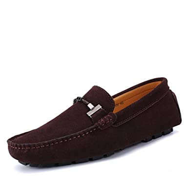 MUMUWU Mens Driving Loafers Handwork Suture Suede Genuine Leather Penny Boat Moccasins Up to Size 47