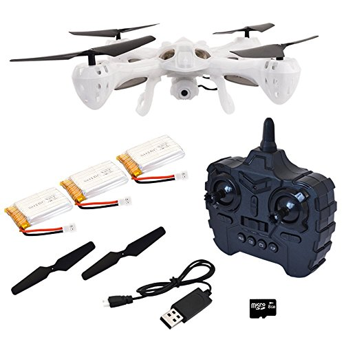Hover-Way 2.4 GHZ Alpha Drone with 480P Video Camera & 8 GB SD Card- Auto Hover, Throw and Fly Aerial Stunts and Removable Battery - Translucent White