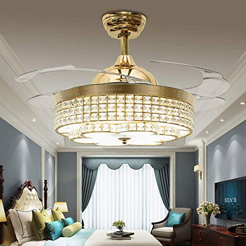RS Lighting 42 inch Household Ceiling Fan with LED Light Simple Golden Fan Chandelier for Living Room Dining Room Electric Fan Lamp Bedroom Ceiling Light Fixture Replacement (Gold-05)
