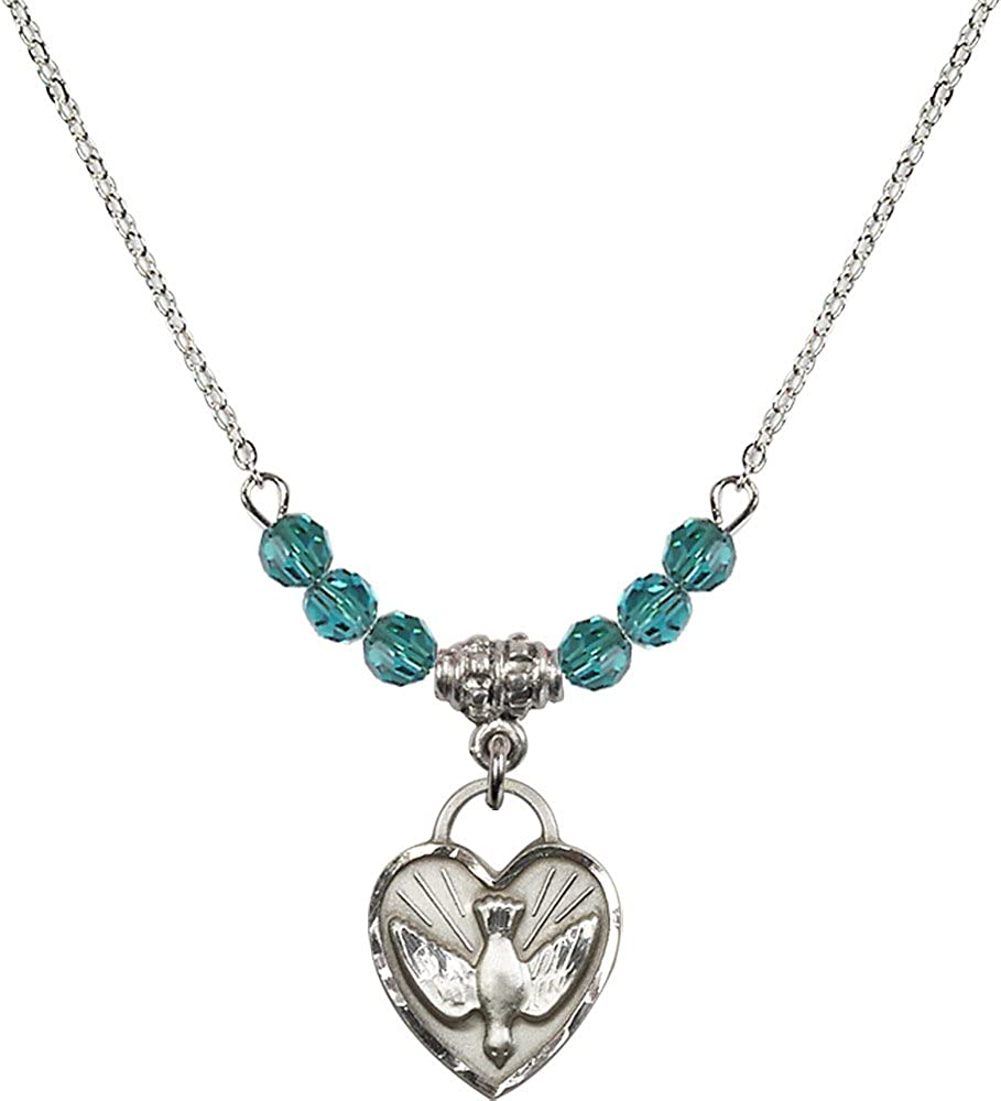 18-Inch Rhodium Plated Necklace with 4mm Zircon Birthstone Beads and Sterling Silver Confirmation Heart Charm.