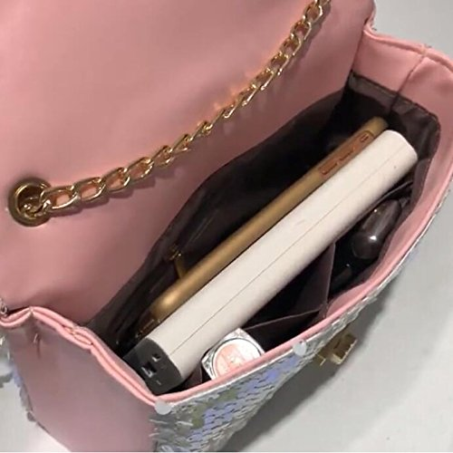 Polyurethane GMYANDJB Women's Shoulder Shoulder White Black Pink Blushing Sequin Bag Bags PU Bags Black ngqTgX1