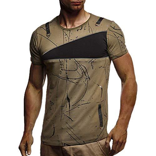 KINGOLDON Letter Printed Tops Fashion Men's Casual Slim Short Sleeve T Shirt Blouse Outdoor t Shirt Fitness t Shirt -