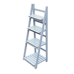 ATERI 4 Tier Flower Stand Foldable Wooden Flower Shelf Plant Ladder Shelf Rack Garden Home Balcony Outdoor Indoor (Gray)