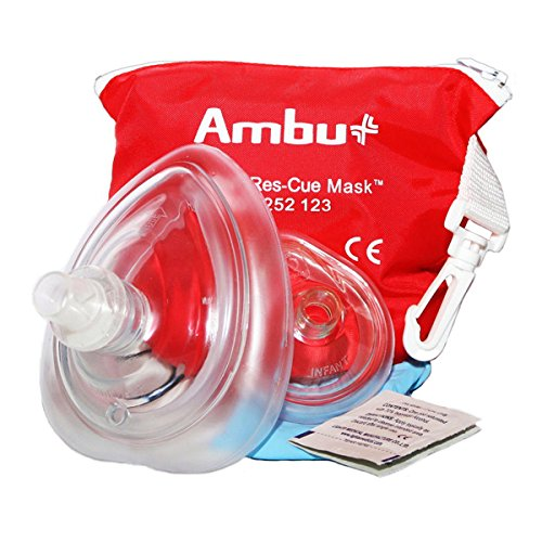 Ventilation Valve Mask Bag - AMBU 000 252 123 Red PVC CPR Res-Cue Adult and Infant Face Masks