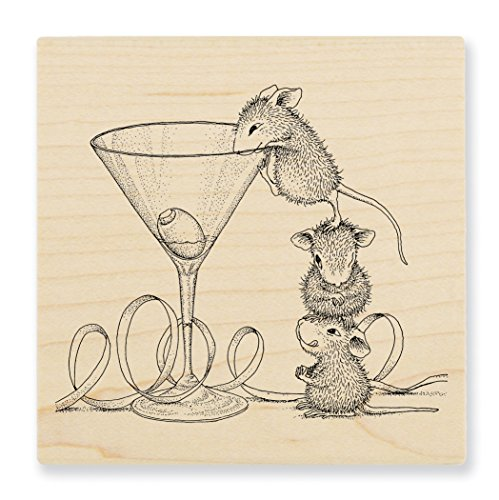 - STAMPENDOUS Wood Handle Rubber Stamp, Martini Mice
