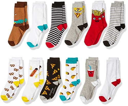 Spotted Zebra Kids' 12-Pack Crew Socks, Fast Food, Large (3-6) -