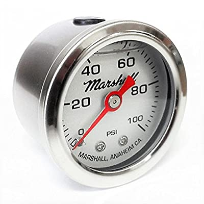 Marshall Instruments LS00100 Silver Dial Fuel Pressure Gauge: Automotive