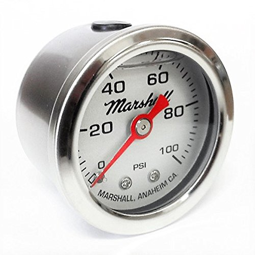 Marshall Instruments LS00100 Liquid Filled Fuel Pressure Gauge Silver