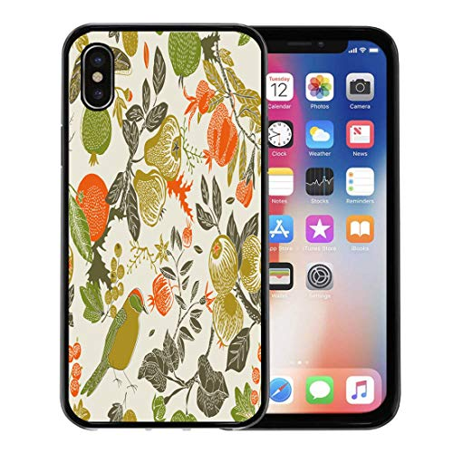 Semtomn Phone Case for Apple iPhone Xs case,Pattern Fruit Garden Bird Fall Pear Pomegranate Floral Berry for iPhone X Case,Rubber Border Protective Case,Black