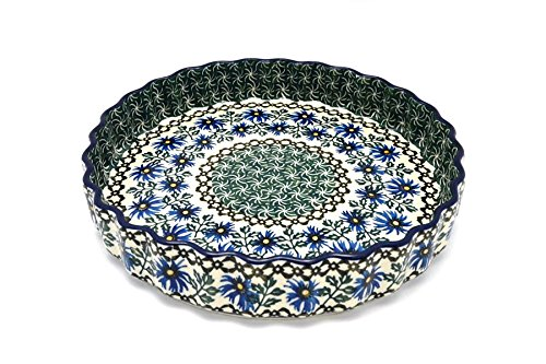 Polish Pottery Baker - Fluted Quiche - Large (9'') - Blue Chicory