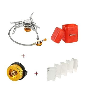 Sun Vale - Estufa de Gas Plegable para Exterior + 9 Placas Parabrisas + Adaptador de Cartucho de Gas para Estufa: Amazon.es: Hogar