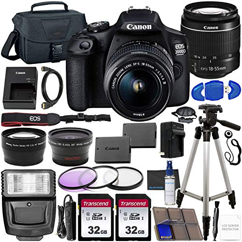 Canon EOS 2000D (Rebel T7) DSLR Camera with EF-S 18-55mm f/3.5-5.6 DC III Lens & Accessory Bundle – Includes: 2X 32GB…