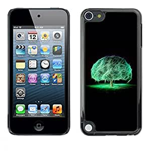 Planetar® ( Cerebro Árbol Místico Naturaleza Neon Negro ) Apple iPod Touch 5 Fundas Cover Cubre Hard Case Cover