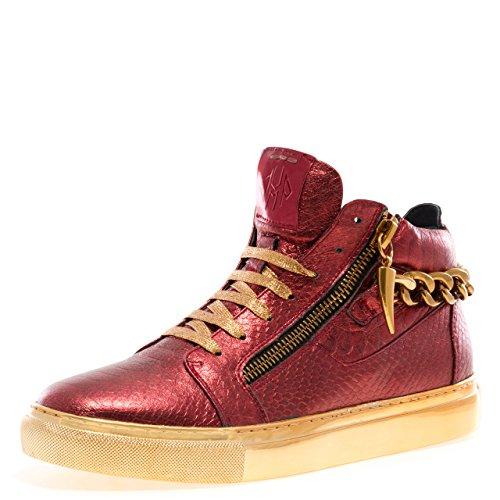 J75 By Jump Catena Da Zack Da Uomo Con Punta Tonda Posteriore In Pelle Con Cerniera Alta Allacciata Sneaker Rosso Serpente