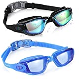 Aegend Swim Goggles, Pack of 2 Swimming Goggles No Leaking Anti Fog UV Protection Crystal Clear Vision Triathlon Swim Goggles with Free Protection Case for Adult Men Women Youth Teens Kids, 8 Choices