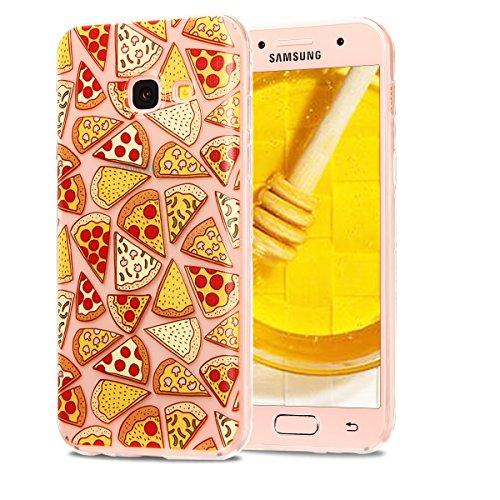 Funda Galaxy A3 2017, CaseLover Carcasa Transparente Suave Silicona TPU para Samsung Galaxy A3 2017 A320 (4.7 Pulgadas) Ultra Delgado Flexible Gel Protectora Cubierta Resistente a los Arañazos Tapa Li Pizza