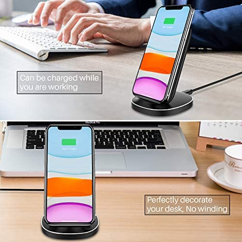 KKM Wireless Charger 2 Pack, 15W Fast Wireless Charging Stand Compatible with iPhone 12/12 Pro/12 Pro Max/11/11 Pro Max/X/XS Max/8 Plus, Samsung Galaxy S20 FE/Note 20 Ultra/Google Pixel, and many others