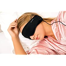 Sleep Headphones & Sleeping Mask by Hibermate. Improved/Updated Nov 2017. Kevlar Cable, Premium, Gift Boxed, In-line Remote (w. Mic for Ph Calls). Super Durable.