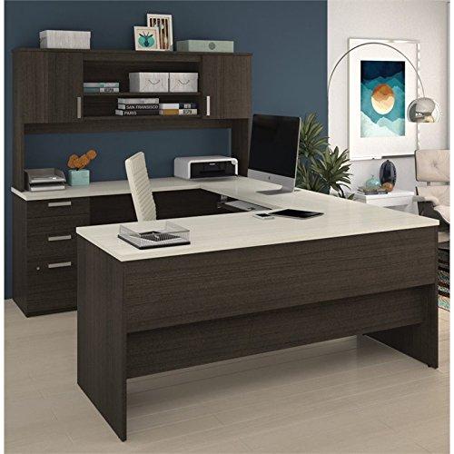 Cheap  Bestar Ridgeley U-Shaped Desk in Dark Chocolate and White Chocolate